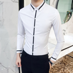 Image 2 - Camisa Social Masculina High Quality Spring Men Dress Shirt Groom Wedding Tuxedo Shirt Men Slim Fit Long Sleeve Social Shirts