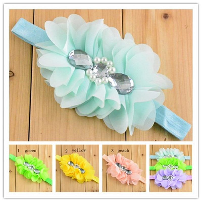 20pcs/lot 12 colors Girls Headband Chiffon Flower Baby Headband Elastic Hairband Baby Flower Headband Baby Girl Toddler Headband
