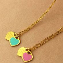 New Creative Two love Heart pink blue enamel silicone Pendants & Necklaces jewelry Best Valentine's Day & Christmas Gift Women