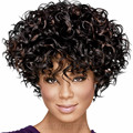 Fashion Newest Sexy Short Kinky Curly Hair Black Wig for America Africa Women womens Cut Pelucas Sinteticas with Bangs Curl Wig