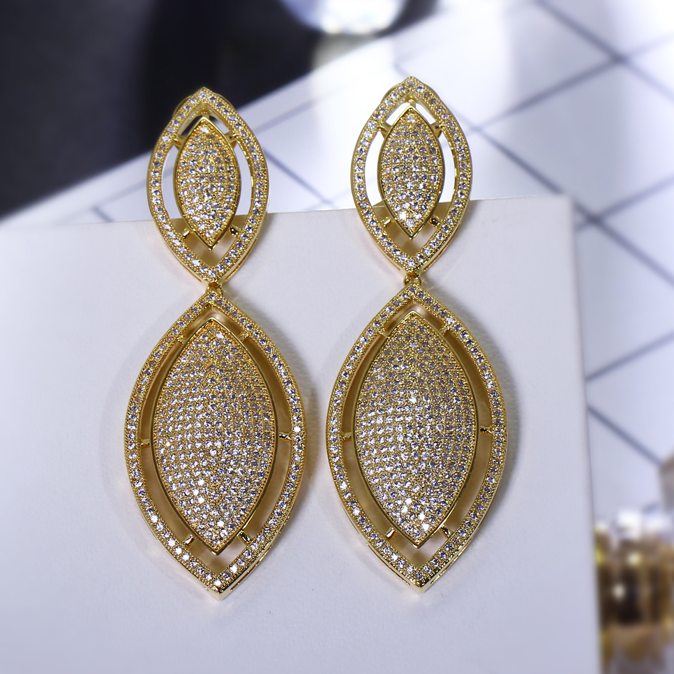 Office Ladies Deluxe Leaf Shape Drop Earrings White Color Cubic Zirconia Micro Pave Setting Women earring