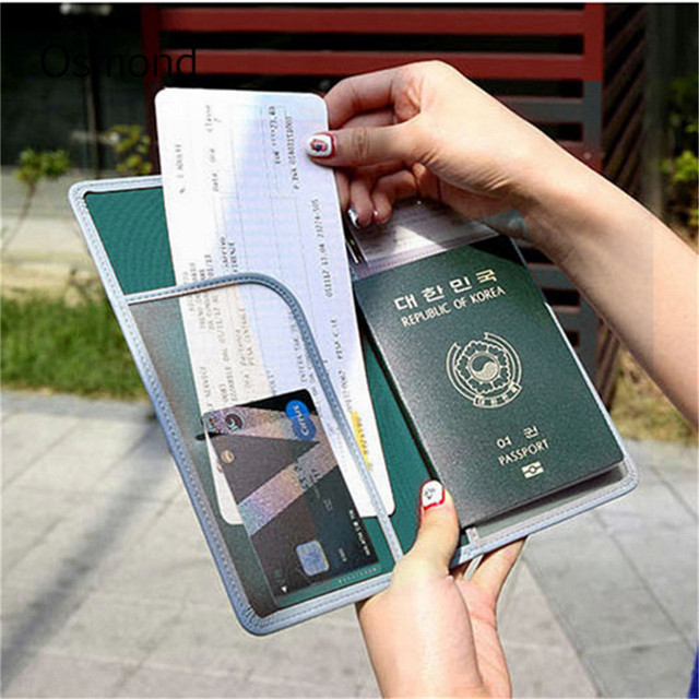 f916f1156ba Osmond Traveling Passport Cover PU Leather Credit Cards Wallet Korean  Document ID Card Holder Women Large