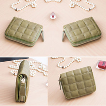 Women Short Wallets PU Leather Female Plaid Purses Nubuck Card Holder Wallet Small Zipper Wallet With Coin Purse LT88