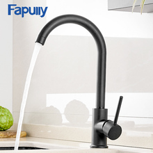 Fapully Brass Kitchen Faucet Black 360 Degree Swivel Single Handle Vessel Sink Vintage Mixer Tap Torneira