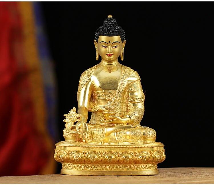 Большая позолоченная статуэтка Будды из латуни, 21 см, эффективная защита семьи, тибетская, непальская, медицинская, гуру, Будда