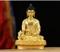 21CM large High grade gold gilding Buddha brass statue HOME family effective protection Tibetan Nepal Medicine Guru buddha