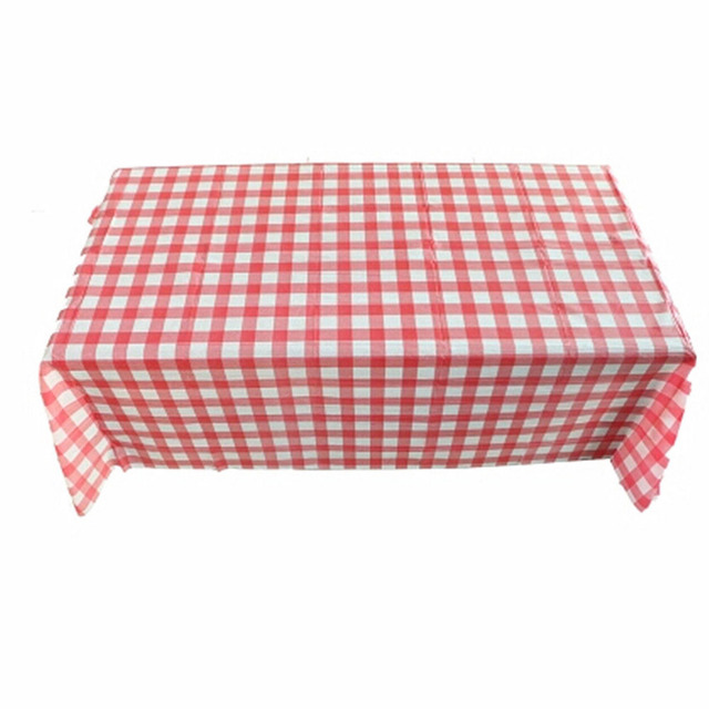 Table Cloth Red Gingham Plastic Disposable Wipe Check Tablecloth For Party Outdoor Picnic Bbq 10 Pcs 160cm