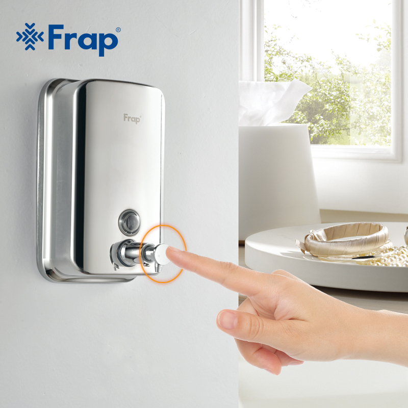 Frap Wall Mounted Shampoo Soap Dispenser stainless steel Square Liquid Soap Bottle Bathroom Accessories 500ml F401  800ml F402Frap Wall Mounted Shampoo Soap Dispenser stainless steel Square Liquid Soap Bottle Bathroom Accessories 500ml F401  800ml F402