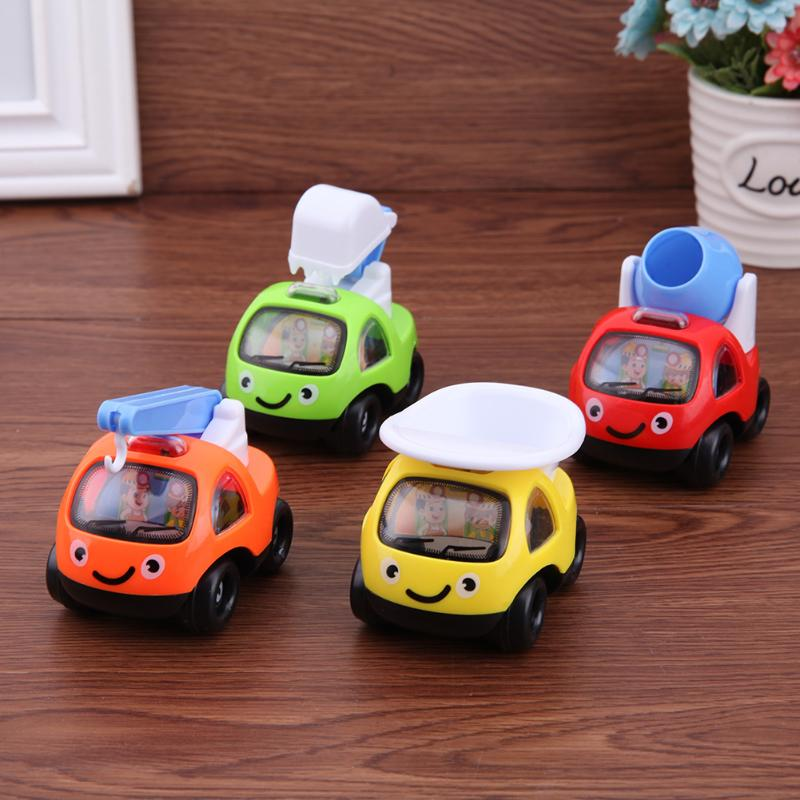 4pcs Cartoon Pull Back Engineering Truck Model Plastic Cute Car Models Toys for Boys Kids Child New Year Gift