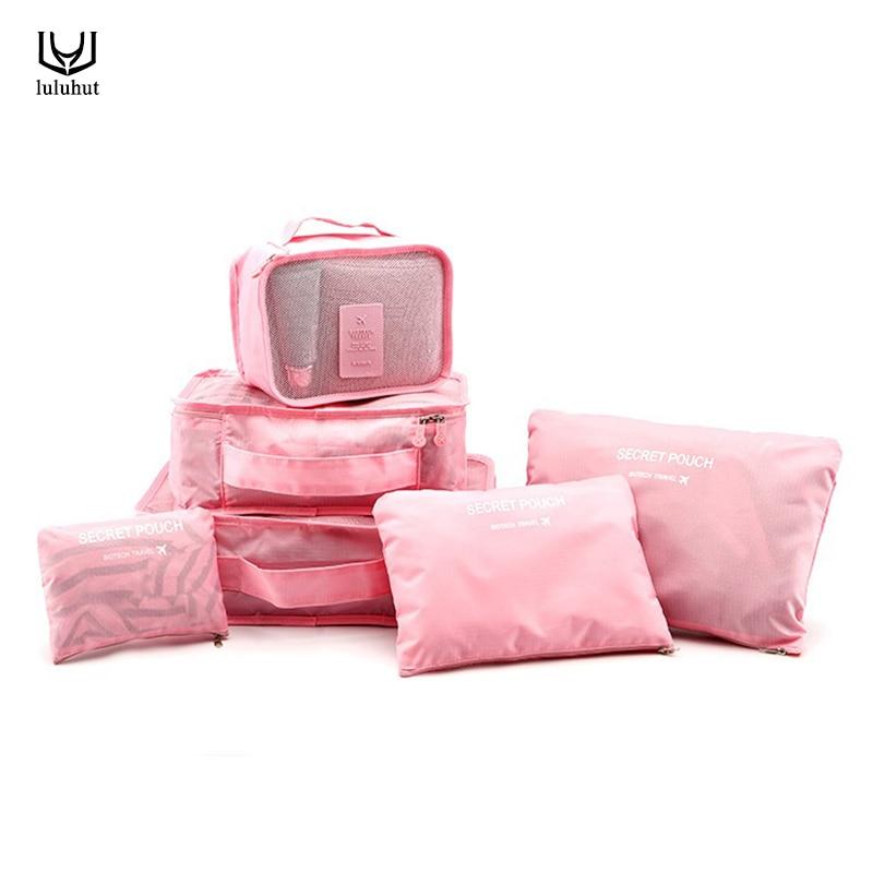 Luluhut 6 UNIDS / SET conjunto de almacenamiento de viaje ropa impermeable zapatos bolsa cubo maleta bolsa de almacenamiento de equipaje cremallera organizador armario de casa