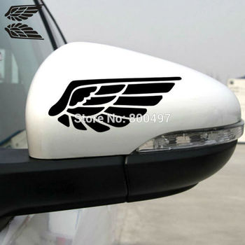 2 x Rear View Mirror Car Stickers Funny Wing of the Angel Car Decal for Tesla Ford Chevrolet Honda Toyota Lada image
