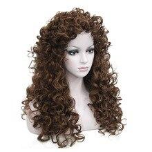 여자의 합성 가발 긴 곱슬 가발 금발/갈색 머리 자연 솜털 헤어 스타일 strongbeauty