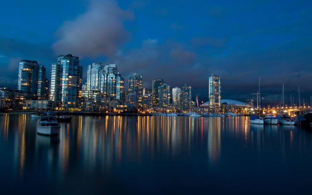 Cheap Wall decoration prints canvas piantings City skyline vancouver dusk poster art for living room