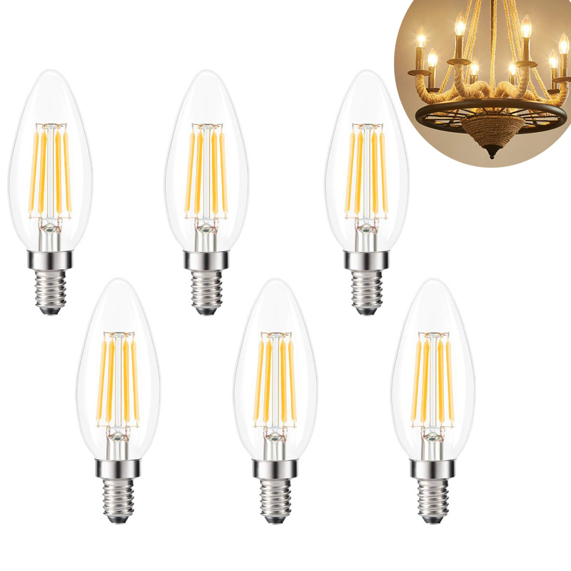 Kohree 6PCS E12 Led Edison Light Bulb Crystal Chandelier Lighting Bulbs Modern B10 Candle Lamp 2700k 4W Non-Dimmable Warm White 6pcs 5w ac85 265v 2835smd led candle bulb e12 e14 e27 base led light led lamps light chandelier bulbs light oval tail 6pcs lot