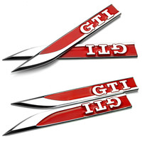 Qty 5 Plating Red GTI Car Stickers Car Wing Side Badge Emblem With 3M For Volkswagen