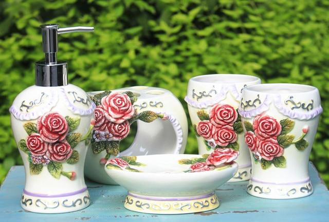 Rose bloemen keramische tandenborstelhouder zeepbakje badkamer ...