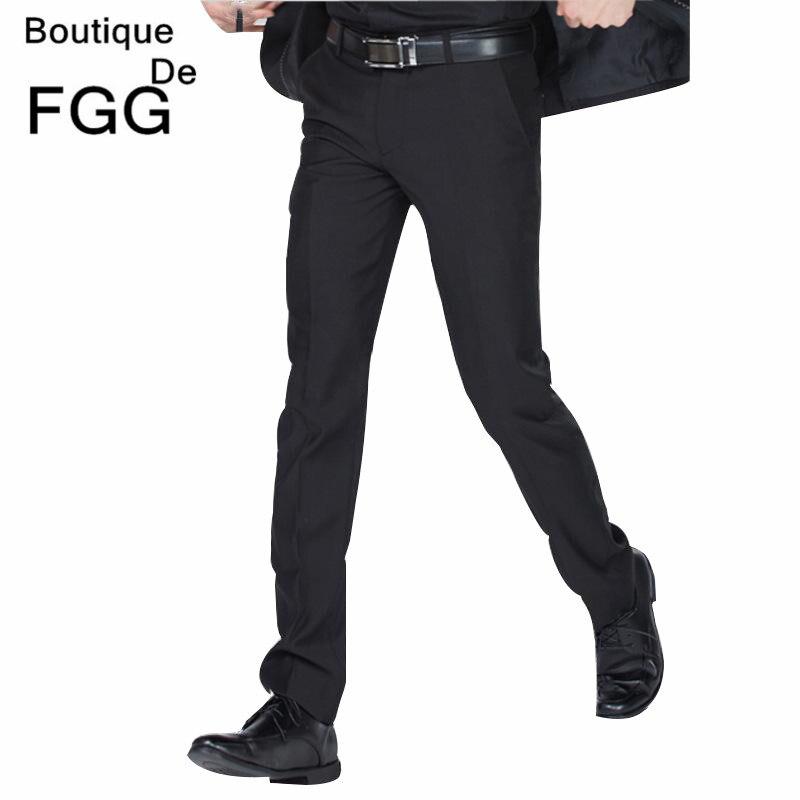 552863418ce Boutique De FGG Twill Business Formal Black Suit Pants For Men Slim Fit  Office Casual Pants