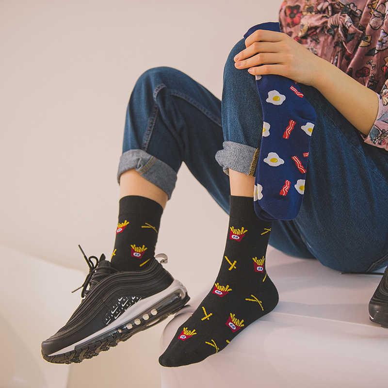 스낵 패턴 하라주쿠 힙합 양말 남성 재미 있은 콤벳면 드레스 캐주얼 아트 양말 다채로운 참신 스케이트 보드 남성 양말