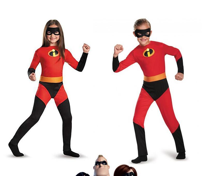 2019 The Incredibles 2 Cosplay Kids Costume Violet Parr Dash Parr Spandex Super Hero Jumpsuit Bodysuit Boys Girls Halloween Gift