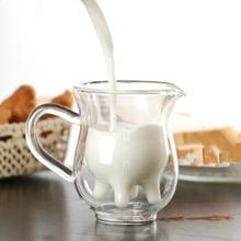 Креативная двухслойная стеклянная чашка для сливок 250 мл, милый молочный кувшин, сок, чай, кофе, чашка из прозрачного стекла, кружка для вспенивания молока, кувшин