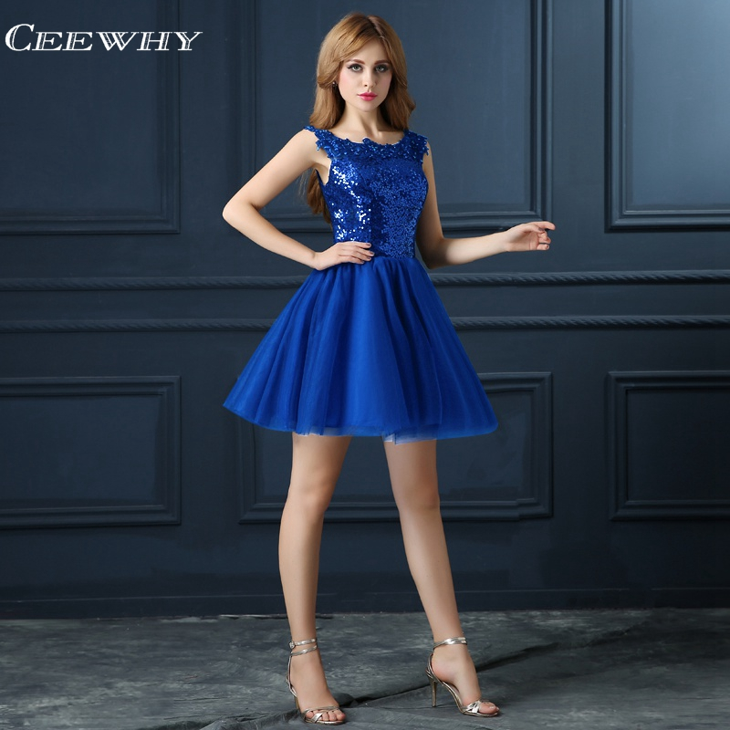 CEEWHY Blue Sequin Cocktail Dress Elegant Short Prom Party Prom Dresses Robe Cocktail Mi Longue Cocktail