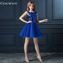 CEEWHY Blue Sequin Cocktail Dress Elegant Short Prom Party Dresses Robe Mi Longue 2018