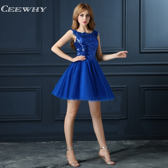 Sequin Cocktail Dress CEEWHY Blue Sequin Cocktail Dress Elegant Short Prom Party Prom Dresses  Robe Cocktail Mi Longue Cocktail Dresses 2018