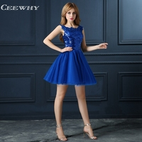 CEEWHY Blue Sequin Cocktail Dress Elegant Short Prom Party Prom Dresses Robe Cocktail Mi Longue Cocktail Dresses 2018