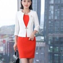 Moda blanco Blazer mujeres trajes de negocios vestido y chaquetas Set media  manga Oficina damas desgaste de trabajo uniformes 2ab4f4a5ede7