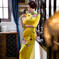 Satin Velvet Chinese Traditional Cheongsam Wedding Evening Wrap Dress Full-Length High-slit Qipao QP46 Yellow