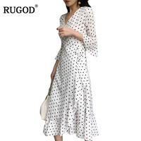 RUGOD New Arrival Stylish Dot Women Dress Spring Summer Mid Calf Female Party Dress with Sashes Deep V neck Empire vestidos