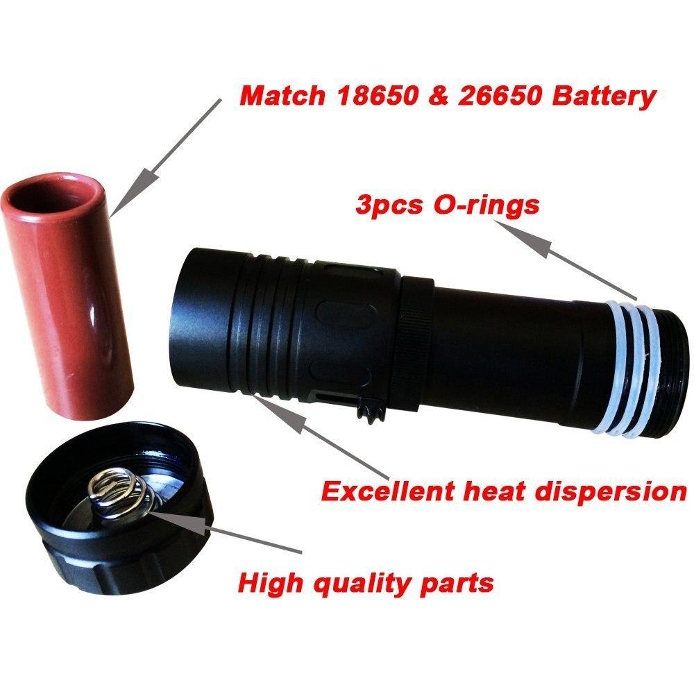 1000LM Cree Masques de Plongée sous-marine Lumières Plongée lampe de Poche LED Torche 150 m Pêche Sous-Marine De Torches (Sans Batterie) - 3