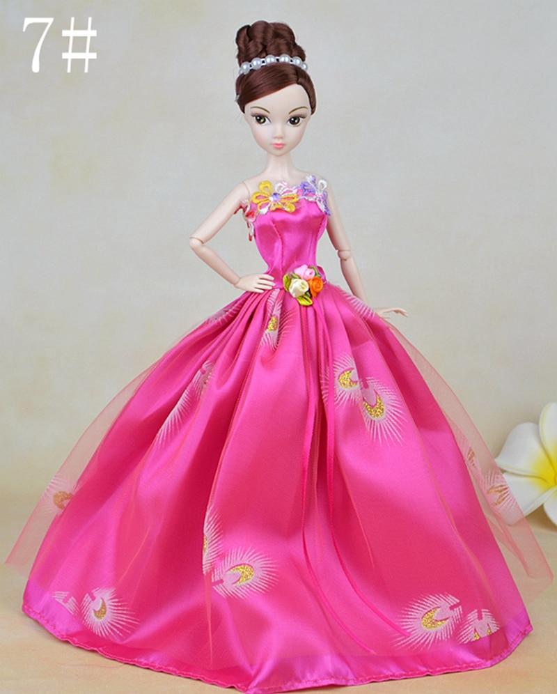 Rosy Stunning Elegant Wedding ceremony Attire Yarn Garments Vestidos Lengthy Night Costume for Barbie Doll For Lady's Dolls