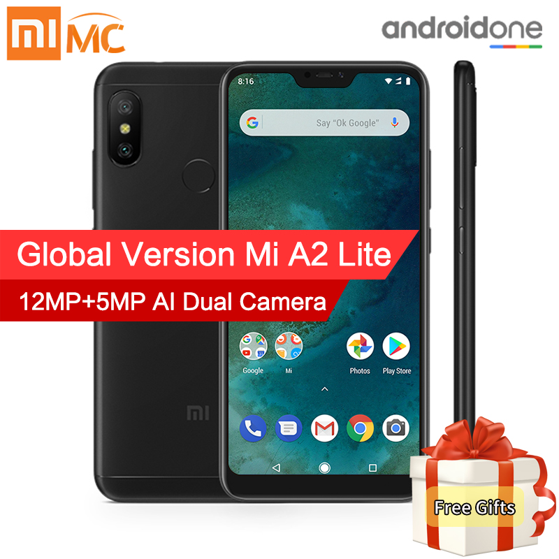 Em Estoque! Versão Global Xiao mi mi A2 Lite 4 gb 64 gb Do Telefone Móvel 5.84 Tela Cheia Snapdragon 625 AI câmeras Dual Android 8.1 CE