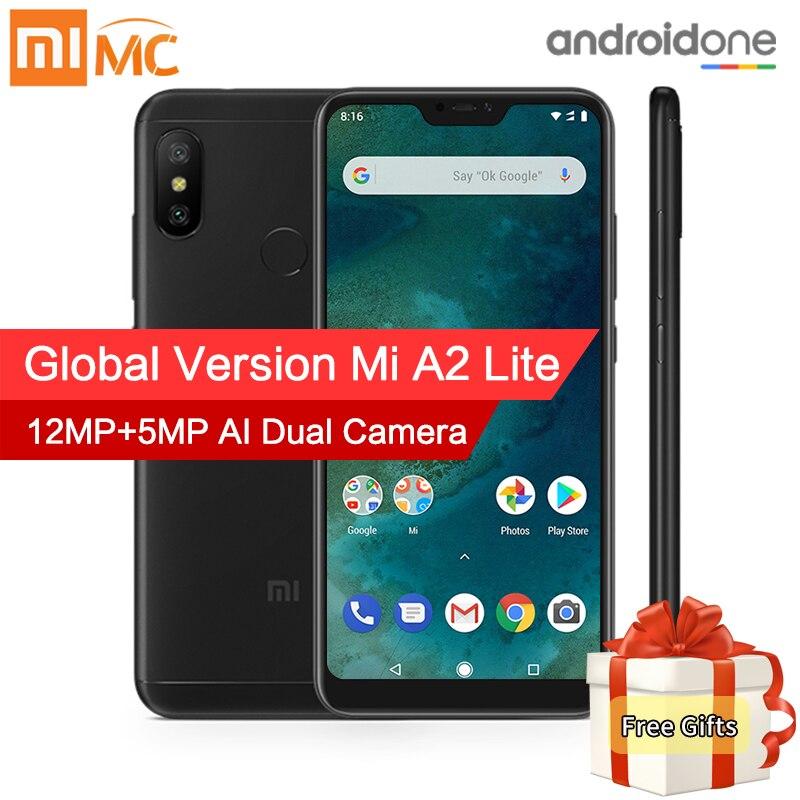 En Stock! Mondial Version Xiao mi mi A2 Lite 4 gb 64 gb Mobile Téléphone 5.84 Plein Écran Snapdragon 625 AI double Caméras Android 8.1 CE