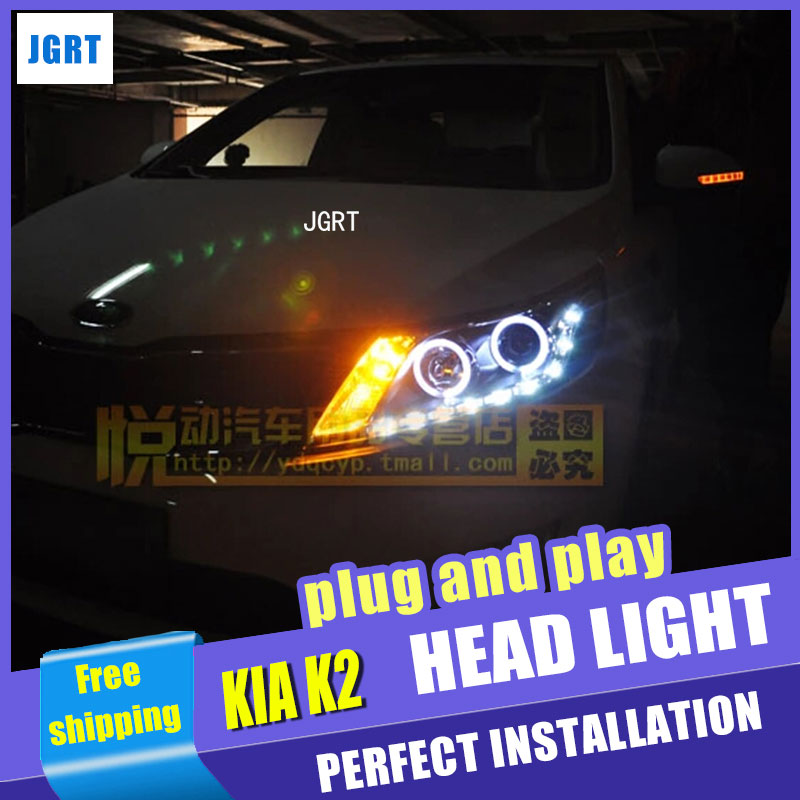 Car Styling LED Head Lamp for Kia K2 headlight assembly Rio LED Headlight Automobile angel eye led drl H7 with hid kit 2pcs. car styling head lamp for bmw e84 x1 led headlight assembly 2009 2014 e84 led drl h7 with hid kit 2 pcs