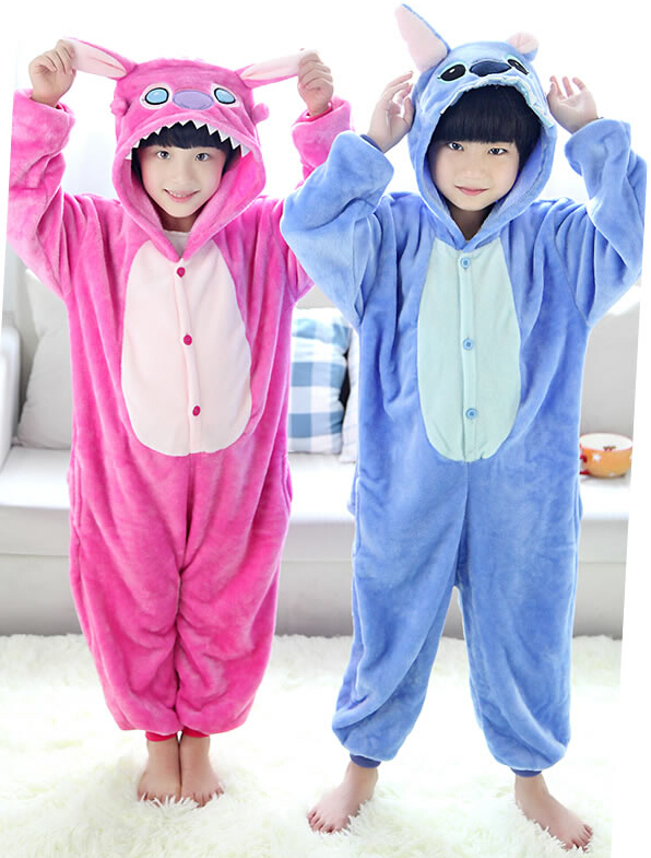 Lilo & Stitch Flannel Kigurumi For Children Kids Onesie Pajamas Cosplay Costume For Halloween Carnival New Year Party