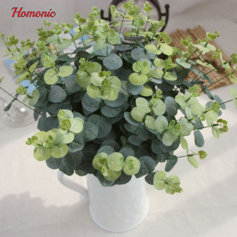 3 Ramas de eucalipto flor de seda artificial grande decoración de flores flor rústico artificial hojas Cafe Office Room Decor P20