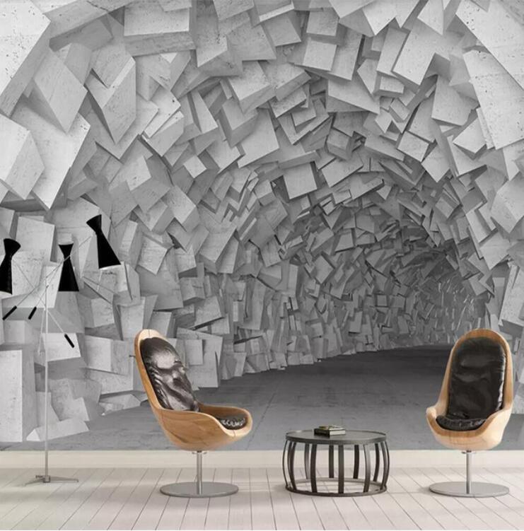 3D Abstract Tile Brick Wallpaper Mural Three Dimensional