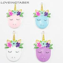 (Elige el Color primero) ¡lo más nuevo! 50mm * 33mm 10 unids/lote esmalte completo dibujos animados unicornio cabeza colgantes