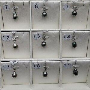 """Image 5 - י""""ש 925 סטרלינג כסף 10 11mm אמיתי טבעי מטהיטי פרל תליון שרשרת תכשיטים"""