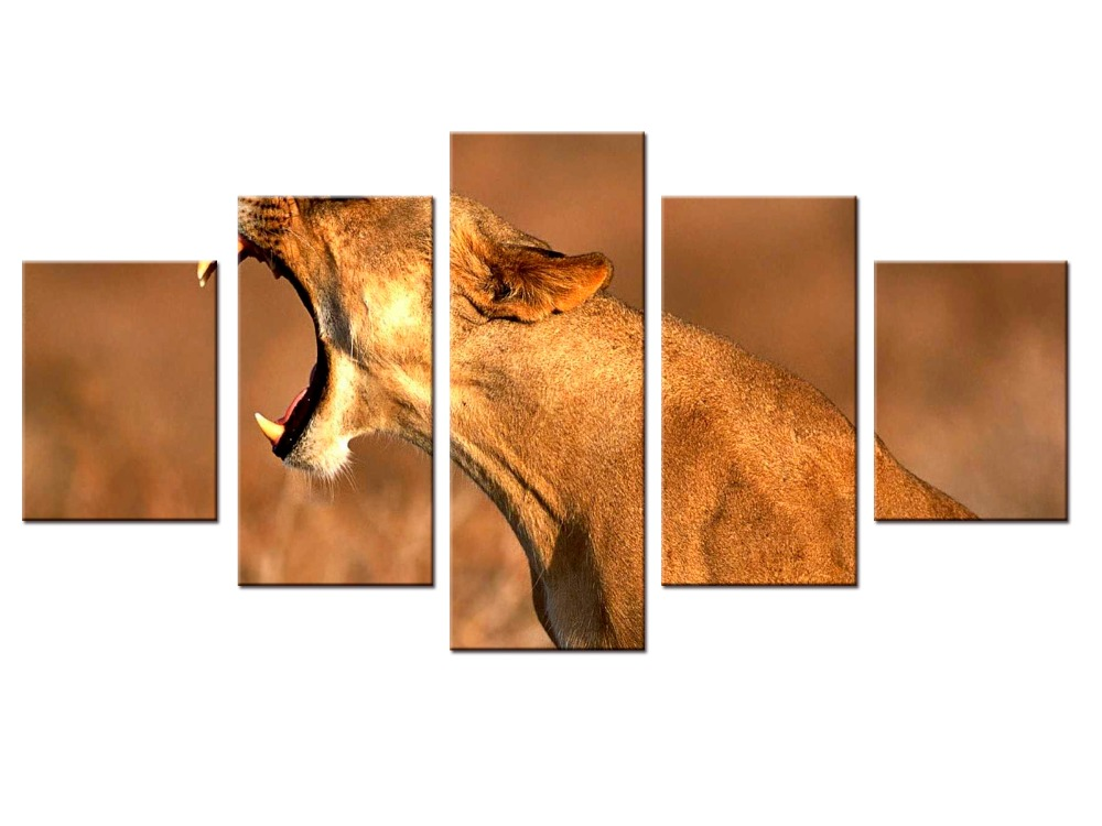 5 Pieces Set Canvas Animal Printing High Quality Hd Great Art African Cheetah Pictures Modern Home Decor