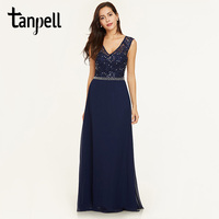 Tanpell Lace Beaded Evening Dress Dark Navy Sleeveless Floor Length A Line Gown Cheap Women Party