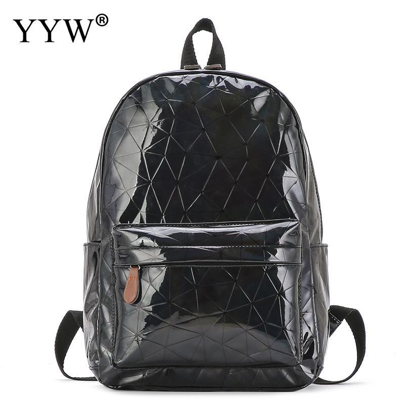 Laser sac à dos femmes grande capacité géométrique brillant sac à dos femme mode 2019 sac d'école pour adolescente argent Mochila