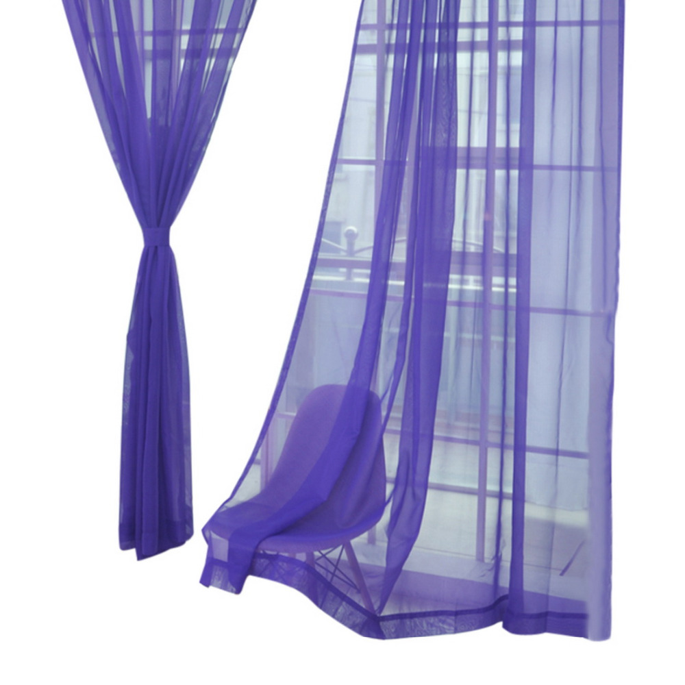 Urijk Pure Color Tulle Door Window Blinds Curtains Screems Kitchen Drapes Panel Sheer Scarf Valances Curtains For Living Room