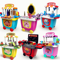 Plastic Kids Pretend Play Trolley Kitchen Toys Role playing Games Baby kitchen Children Toys for Girls Christmas Gift 3 years
