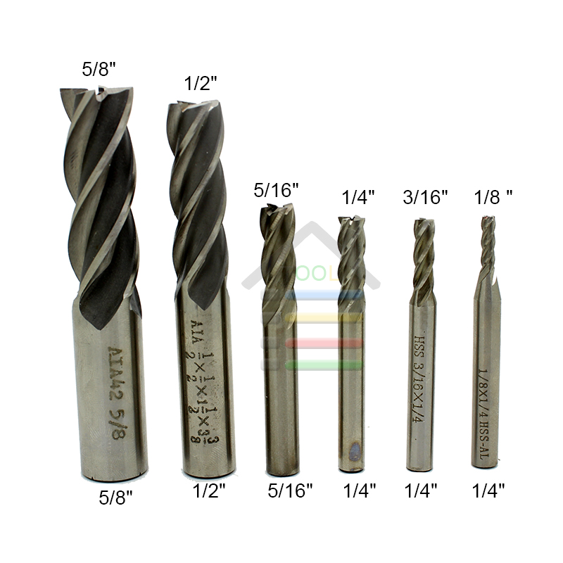 AUTOTOOLHOME 6pcs HSS CNC Straight Shank End Mills Milling Cutter Metal Drill Bit 1/8 3/16 1/4 5/16 1/2 5/8 DIY Tool Accessories 10pcs box 1 8 inch 0 8 3 17mm pcb engraving cutter rotary cnc end mill 0 8 1 0 1 2 1 4 1 6 1 8 2 0 2 2 2 4 3 17mm