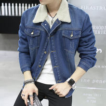 Men Jacket and Coat Trendy Warm Fleece Thick Denim Jacket 2019 Winter M-3XL(China)