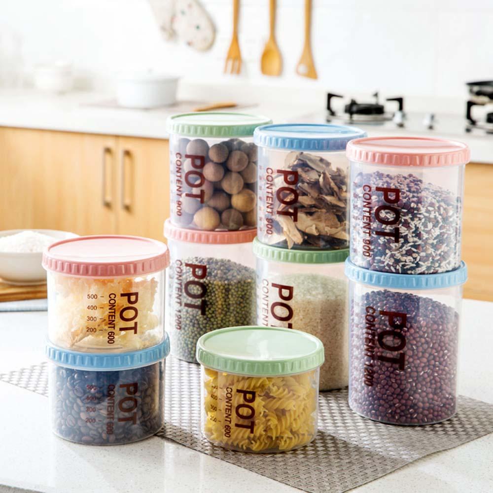 3PC Kitchen Supplies Storage Sealed Cans Plastic Grain Storage Tank Food Sealed Jar Transparent Snacks Storage Box