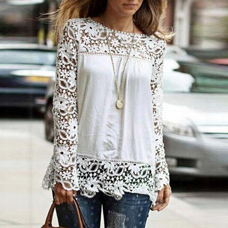 Autumn Women Crochet Lace   Blouse     Shirt   Female Casual Solid Round Neck Long Sleeve Chiffon Top   Shirts   Plus Size Cotton Blousa